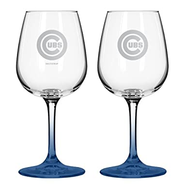 MLB Chicago Cubs Satin Etch Wine Glass, 16-ounce, 2-Pack