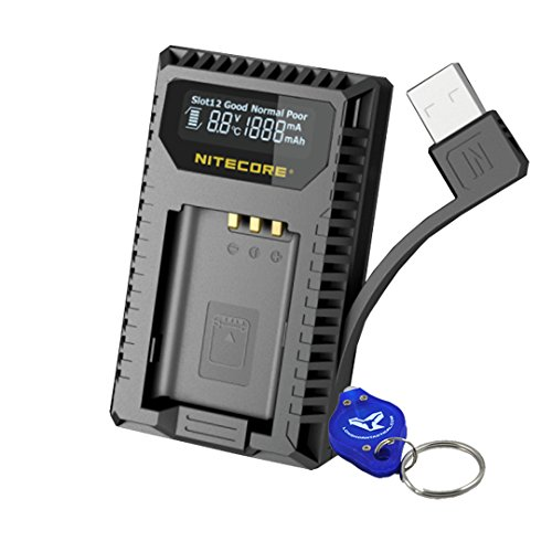 NITECORE USN2 Digital Dual Slot Travel Camera Charger for Sony NP-BX1 Batteries; Compatible w/ DSC-HX350, DSC-H400, DSC-HX400, DSC-RX100M5, DSC-RX1RM2, DSC-RX100M4, DSC-WX500, DSC-HX90 & - Travel Digital Charger
