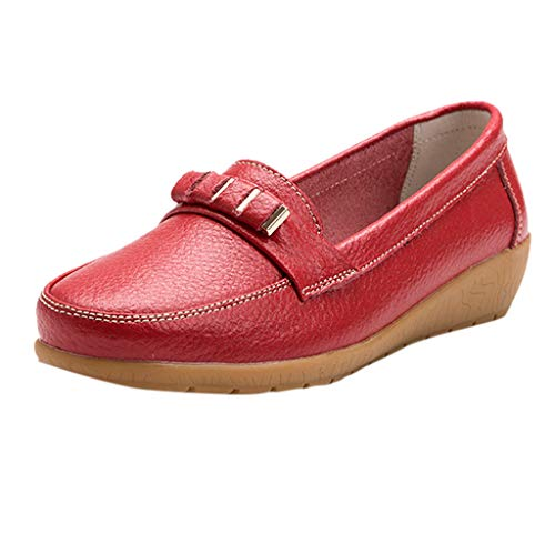 Nebwe Shoes Women's Flat Shoes Soft Bottom Large Size Casual Solid Color Summer(Red,36)