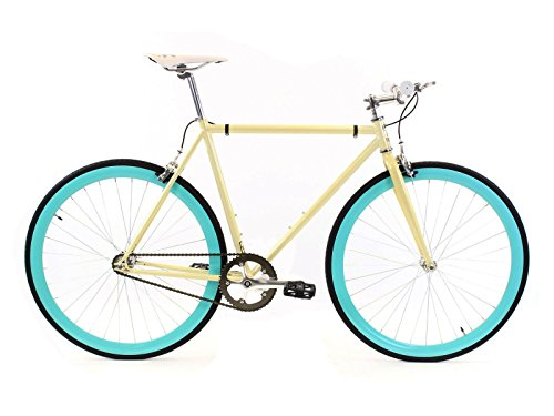 Golden Cycles Fixed Gear Bike Steel Frame Fixie with Deep V Rims-Collection (Abigail, 48)