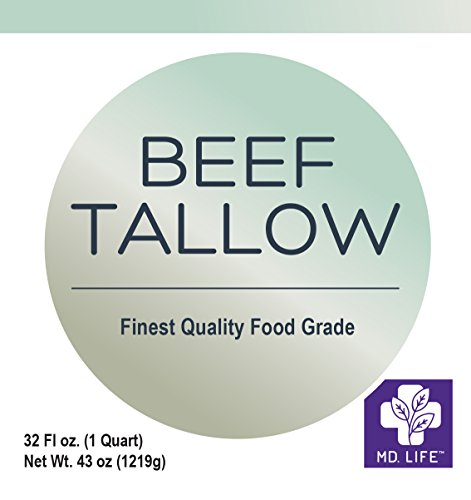Save $$ MD.LIFE Beef Tallow 1 Gallon 4-32 Oz Tubs - Compare to Beef Tallow, Grass-Fed, Kettle Rendered and Fine Filtered, by MD.LIFE (Image #1)