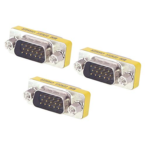 VCE 3-Pack HD15 VGA SVGA Male to Male Mini Gender Changer Coupler Adapter ()