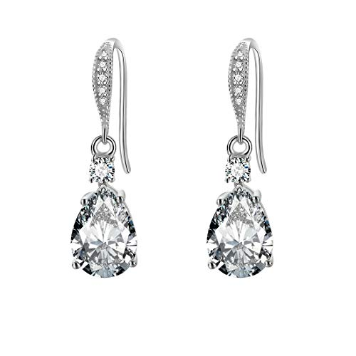 Carleen White Gold Plated 925 Sterling Silver CZ Cubic Zirconia Pear Shaped Water Drop Dangle Earrings For Women Girls