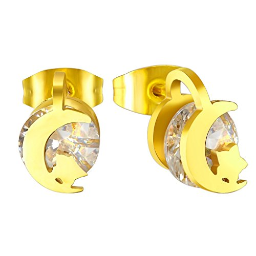 fonk: Moon With Star Crystal Earrings New Style Stud Earrings 18K Gold Plated