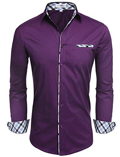 Hotouch Men's Formal Shirts Slim Fit Dress Shirt Purple - Contrast Dress Collar Shirt
