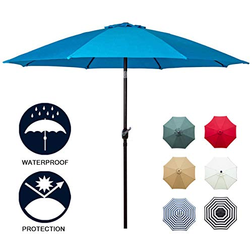 Sunnyglade 9' Patio Umbrella Outdoor Table Umbrella with 8 Sturdy Ribs (Blue) - Picnic Table Umbrella