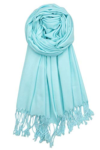- Achillea Soft Silky Solid Pashmina Shawl Wrap Scarf for Wedding Bridesmaid Evening Dress ... (Aqua)