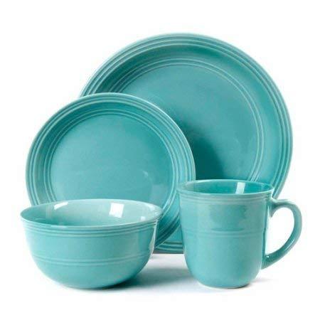 Mainstays 16-Piece Round Dinnerware Set, Aqua