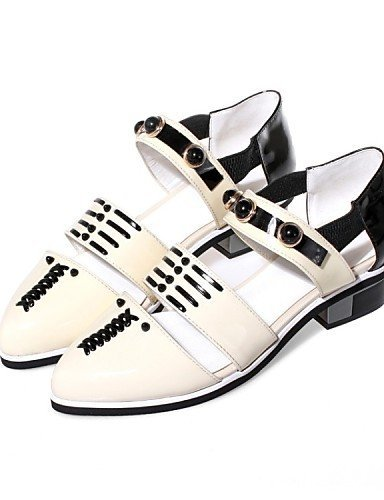 ShangYi Women's Shoes Cowhide Low Heel Pointed Toe Flats Casual Silver / Gold