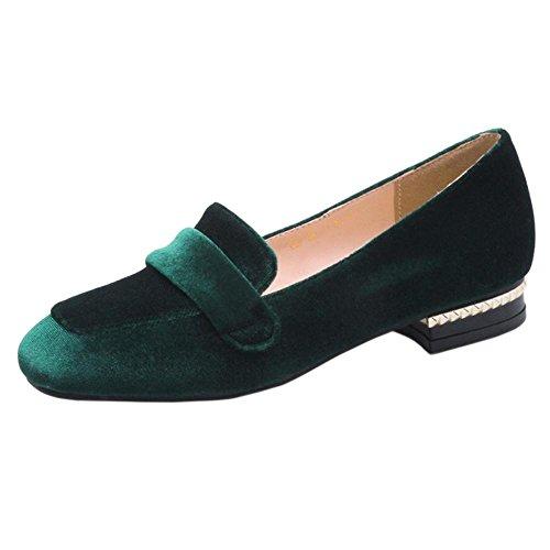 Women's Green TAOFFEN Shoes Fashion Loafers Pvpxdwqa