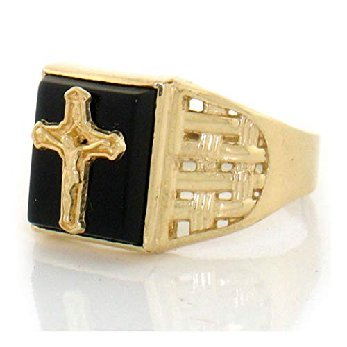 (10k Solid Yellow Gold Onyx Cross Religious Mens Ring (Style# 1884) - Size 13)
