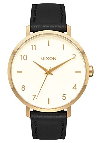 NIXON Arrow Leather A1098 - Gold/Cream/Black - 57M Water Resistant Women's Analog Classic Watch (38mm Watch Face, 17.5mm Stainless Steel Band) (Nixon Player Black)