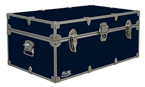C&N Footlockers Happy Camper Storage Trunk - Summer Camp Chest - Durable with Lid Stay - 32 x 18 x 13.5 Inches (Navy)