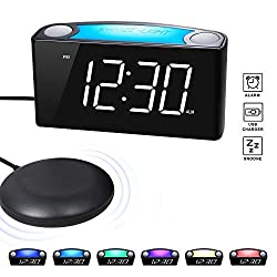 ROCAM Vibrating Loud Alarm Clock with Bed Shaker, Best Sounds, Large LED Display with Dimmer, 7 Colored Night Light, Dual USB Charging Ports for Heavy Sleepers, Hearing Impaired, Deaf People, Seniors