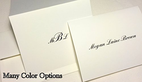 Name Personalized Note Card Stationery - 50 Personalized Note Cards with Added Full Name or Initials. White Folding Cards, Blank Inside, with Matching Envelopes. Custom Monogram Thank You Cards. Great Personalized Gift
