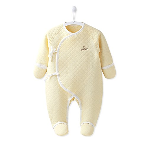 COBROO 100% Cotton Baby Footie Pajamas with Mittens Side-Belt Infant Footed Sleeper Cozy Warm Baby Outfits 0-3 Months Yellow ()