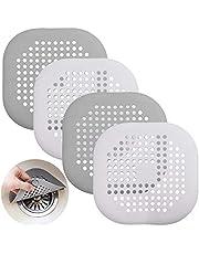 Senhai Afvoerbescherming van siliconen met zuignap, afvoerzeef voor douche, badkuip, afvoerafdekking voor keuken, badkamer, wit, grijs, 4 stuks