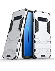 Miagon Kickstand Case for Samsung Galaxy S10,Cool Dual Layer Hard PC Back Case with Stand Function Shockproof Full Body Cover,Silver