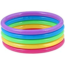 D EXCEED Girls Multicolored Rainbow Stackable Bangle Bracelet