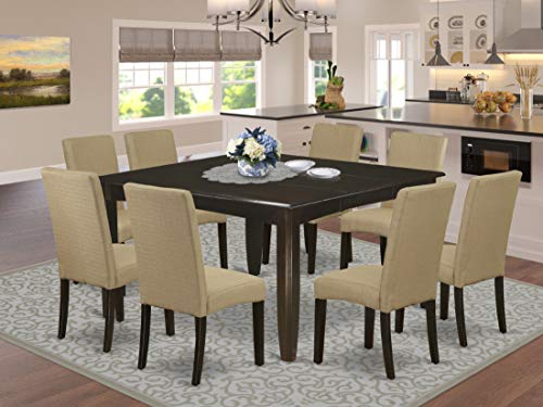 "9Pc Square 36/54"" Dining Table With 18 In Self Storing Butterfly Leaf And Eight Parson Chair With Cappuccino Finish Leg And Linen Fabric- Brown Color"