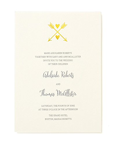 Gold Foil Heart and Arrow Print at Home Invitation Kit