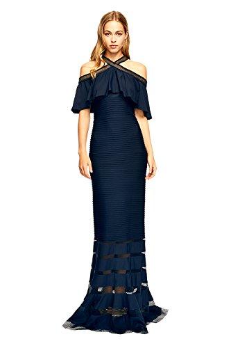 Tadashi Shoji Women's Crystal Pintuck Jersey Halter Gown, Navy, Size L
