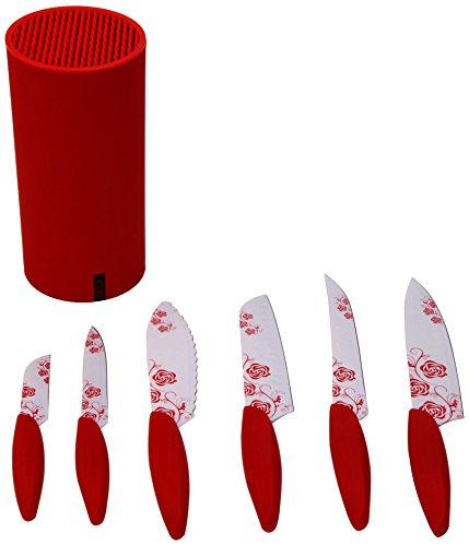 Gela Global 7-Piece Round Counter Knife Block Set, Rose Pattern