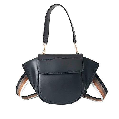 Women Leather Purses and Handbag Women Messenger Shoulder Bag Female Ribbon Tote Crossbody Bag,Black Bag ()