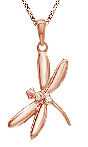 Jewel Zone US White Natural Diamond Accent Dragonfly Pendant Necklace in 14K Rose Gold Over Sterling