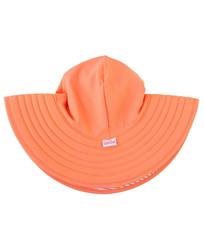 (RuffleButts Baby/Toddler Girls Coral Stripe Reversible Swim Hat - 12m-2T)