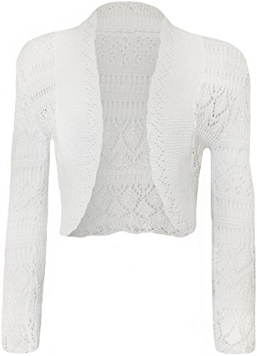 WearAll - Damen strick häkeln Bolero langarm - Weiß - 40-42