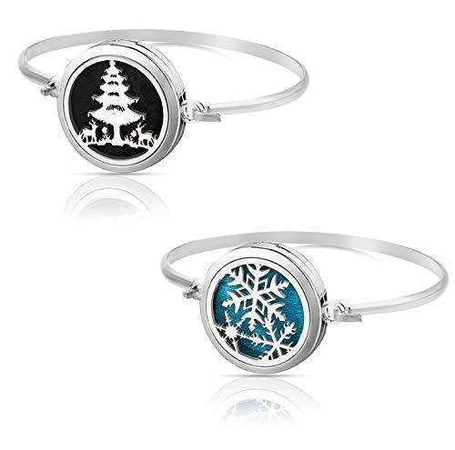 Christmas/Snow Flake/Winter Aromatherapy Essential Oil Diffuser Bracelet Set Pendant Locket Jewelry, Stainless Steel Perfume Gift Present