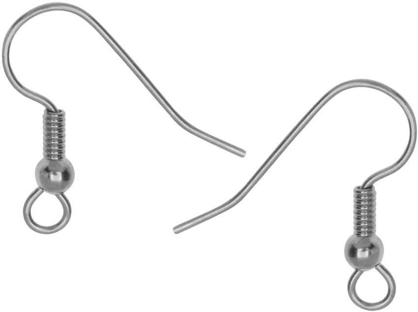 50 Silver Plated STAINLESS Steel Ear Wires French Hook w// Coil 25 Pairs Earrings