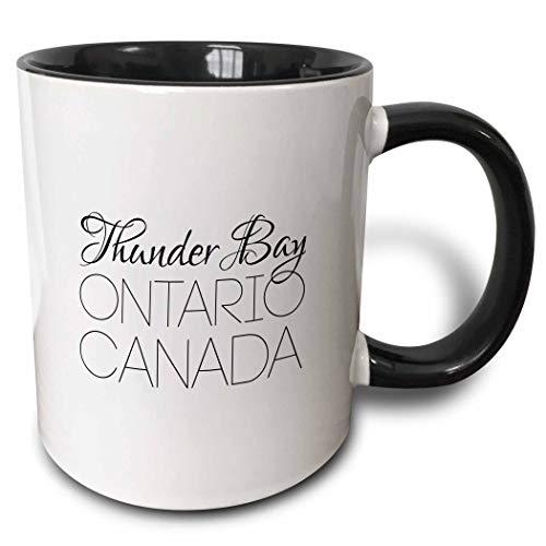 3dRose Alexis Design - Canadian Cities - Thunder Bay Ontario, Canada. Chic, unique patriotic home town gift - 15oz Two-Tone Black Mug (mug_304853_9)