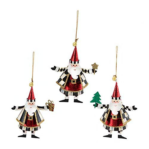 MacKenzie-Childs Look Who's Coming to Town Hand Painted Ornaments - Set of 3