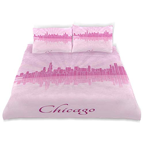 YCHY Decor Duvet Cover Set, United States Scenery in Soft Tones Urban Downtown A Decorative 3 Pcs Bedding Set with Pillowcases, King