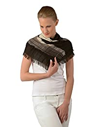 Kuna Women's Baby Alpaca and Silk Scarf, Trendy Design in Black and Ivory Colors, Square Scarves for Beautiful Tying – A Special Gift for Her