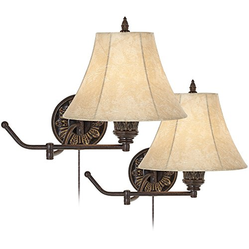 Rosslyn Set of 2 Bronze Plug-In Swing Arm Wall Lamps (Lamp Traditional Swing Arm Wall)