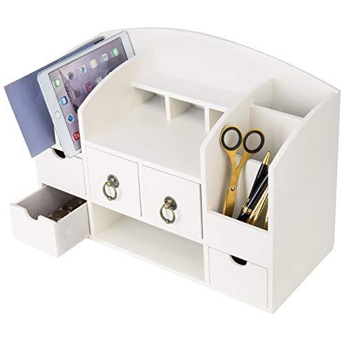 (Vintage White Wood Office Desktop Organizer Rack with Mail Sorter & 5 Drawers)