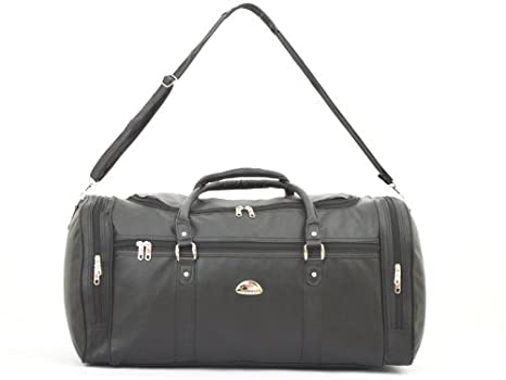 728fcd0237 Strong Mens Holdall - Leatherette Weekend Travel Bag (Black)  Amazon.co.uk   Luggage