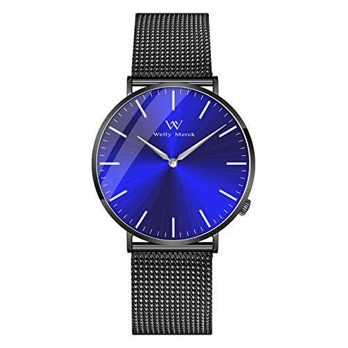 Water Resistant Sapphire Crystal Watch - Welly Merck Wrist Watch for Men Swiss Movement Sapphire Crystal 42mm Blue Sunray Dial Men Luxury Watch Minimalist Ultra Thin Slim Analog Wrist Watch with Mesh Band 5ATM Water Resistant