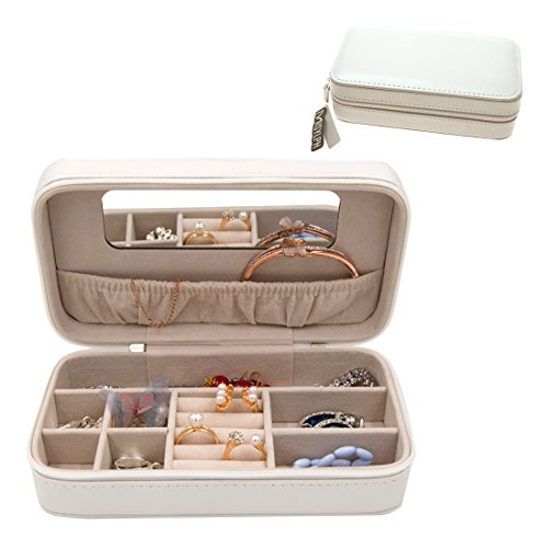 (MISYLPH PU Leather Jewelry Box for Ring&Earrings Necklaces, with Mirror&Zipper, Small-Size, Portable (Mid, Rice White))
