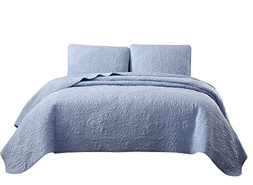 - Chezmoi Collection Frederick 3-Piece Cooling Bamboo Fiber Quilt Bedspread Embroidered Medallion Damask Woven Quilted Coverlet Set (King, Blue)