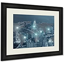 Ashley Framed Prints, Networking Concept Network And World Map On Blur City Use For Wall Art Decor Giclee Photo Print In Black Wood Frame, Soft White Matte, Ready to hang, 20x25 Art