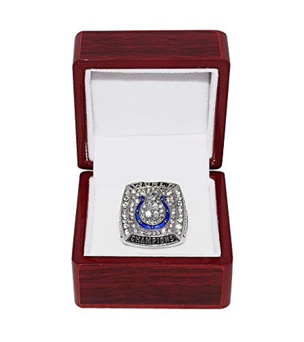 INDIANAPOLIS COLTS (Peyton Manning) 2006 SUPER BOWL XLI WORLD CHAMPIONS (Playing Vs. Bears) Rare Collectible High-Quality Replica NFL Football Silver Championship Ring with Cherrywood Display Box