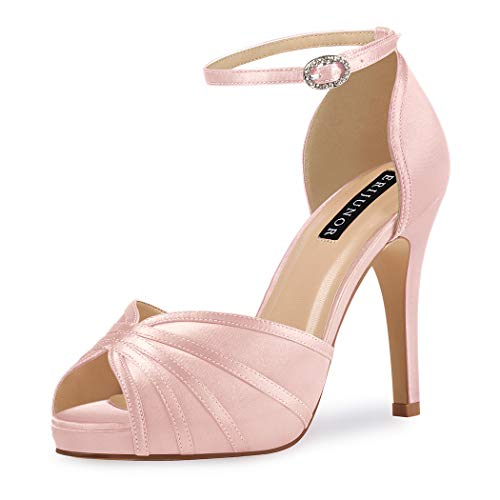 ERIJUNOR E1773 Womens High Heel Sandals Ankle Strap Satin Prom Bridal Wedding Shoes Blush Size 7