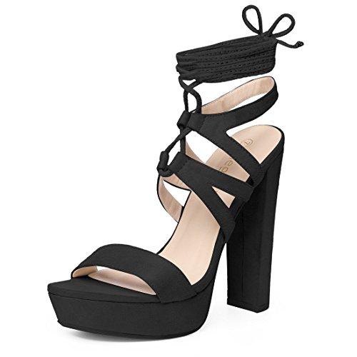 Allegra K Femmes Plateforme Lace Up Sandales À Lanières Noires