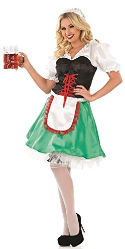 2b07a763a06 Ladies 4 Piece Sexy Green Oktoberfest Bavarian German Swedish Beer Girl  Fancy Dress Costume Outfit UK