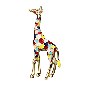Enamel Giraffe Brooch in Gold Plated Metal for Women Girls Cute Animal Brooch Pin Jewelry