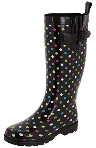 Capelli Ladies Multi Shiny Rubber New Black Boots York Tall Rain qUCSrqx